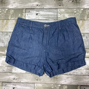 Levi's high rise linen blue cuffed shorts